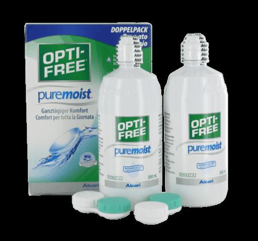 OPTI-FREE puremoist (2x300ml+2 flache Behälter) DOPPELPACK